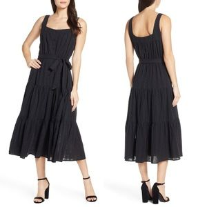 Chelsea28 tiered belted cotton button midi dress